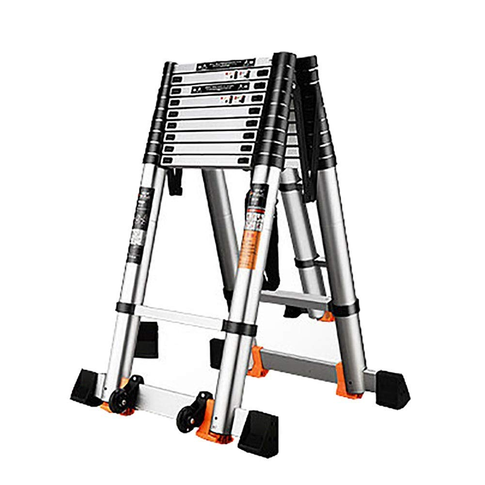 AFDK Escalera Telescópica Profesional Plegable con Ruedas, Escalera Extensible Multiusos de Aluminio para Interiores Exteriores, Carga 150 Kg,2.3m / 7.5ft: Amazon.es: Bricolaje y herramientas