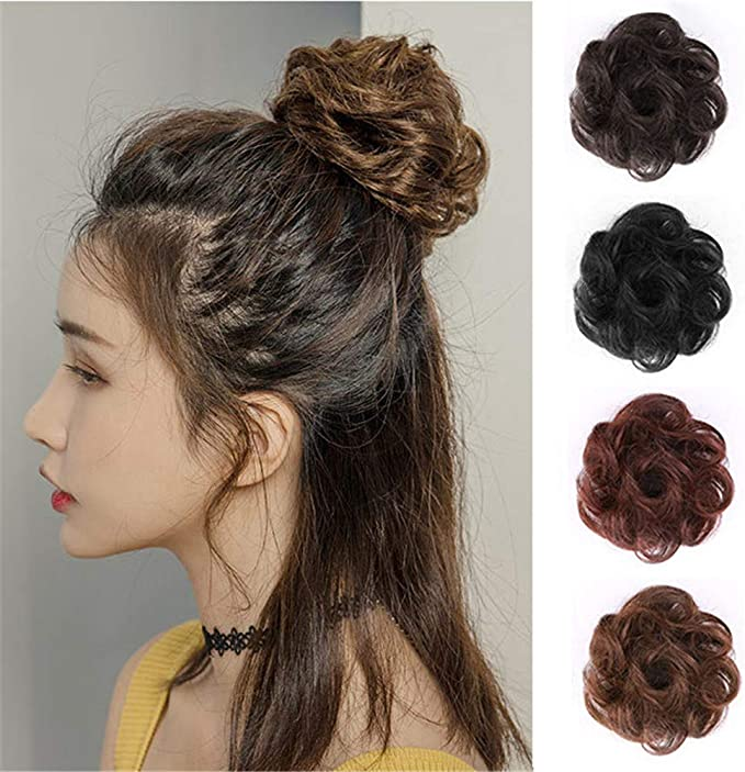 Remeehi Real Hair Scrunchie Bun Updo Hairpiece With Claw Clip New Trendy Messy Women S Scrunchy Hair Buns Pieces For Short Hair Light Brown Amazon Co Uk Beauty