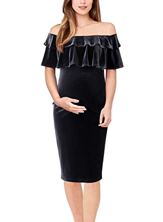 f0b1936817c8b VFSHOW Womens Mama Black Velvet Layered Ruffle Off Shoulder Fitted Maternity  Cocktail Party Dress 058 BLK