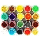 20 Colors Slime Dye Powder Mica Powder Pigments Soap Dye Mermaid Nail Powder - Soap Making Colorants Set Colorants for Bath Bomb,Candle Making, Eye Shadow, Cosmetic, Nail Art, Resin Jewelry
