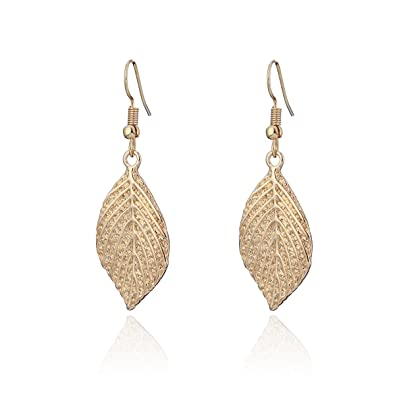 Women/'s Simple Silver Plated Drop Dangle Hollow Leaf Earrings Jewellery Gift UK