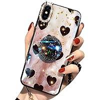 Aulzaju - Carcasa para iPhone con soporte para anillo, vidrio de TPU supersuave, brillante, a prueba de golpes, diseño de corazón, iphone 7 plus/iphone 8 plus 5.5 inch