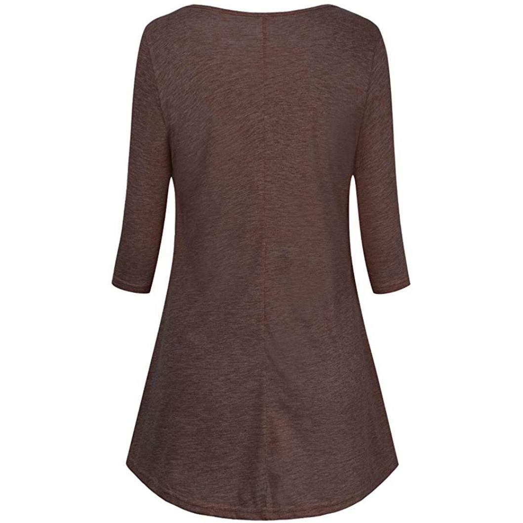 Minisoya Women 3/4 Sleeve Empire Waist Lace Patchwork Tunic Pullover Tops Pleated Casual Frilled Blouse T-Shirt (Coffee, XX-Large) by Minisoya (Image #2)
