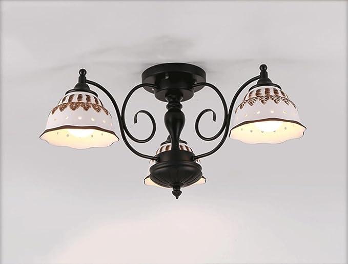JINER-E27 220V país lámpara cerámica dormitorio salón ...