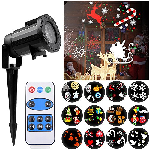 Christmas Projector Lights, NuoYo Projector Party Light With 12 Patterns Switchable Remote Decorative Colorful Waterproof IP65 Snowflake Spotlight for Christmas Wedding Birthday Upgrade 2017 -