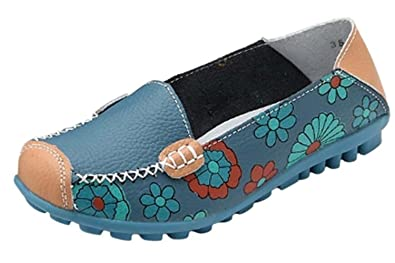 Maybest Women Bright Color Casual Flower Printed Slip On Leather Flat Pumps Moccasins Dancing Shoes (