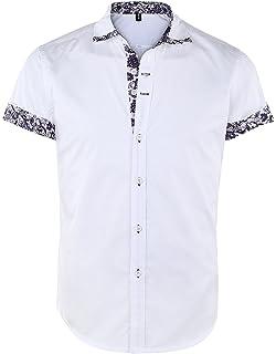 424eee3d781 JEETOO Men s Floral Shirts Short Sleeve Print Dress Shirt Button Down  Summer Casual Shirt
