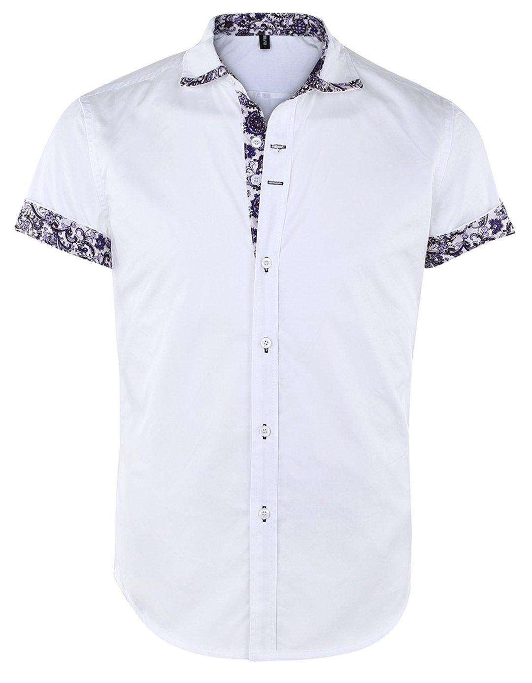 JEETOO Men's Floral Shirts Short Sleeve Print Dress Shirt Button Down Summer Casual Shirt (Small, White)