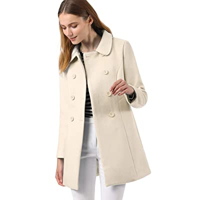 Allegra K Women's Peter Pan Collar Double Breasted Winter Long Trench Pea Coat: Clothing