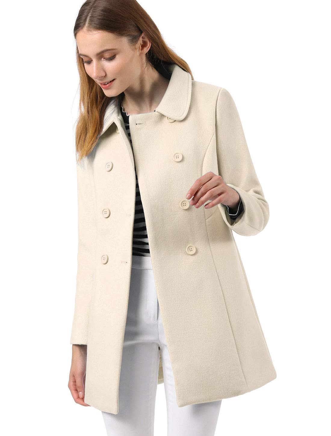 Allegra K Women's Peter Pan Collar Double Breasted Winter Long Trench Pea Coat M Cream White by Allegra K