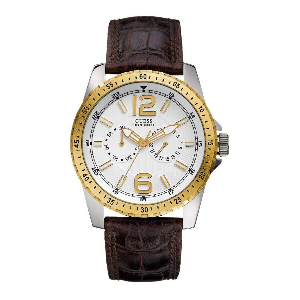 Reloj Guess WaterPro Multifunción de cuero con esfera blanca para hombre # U12006G1