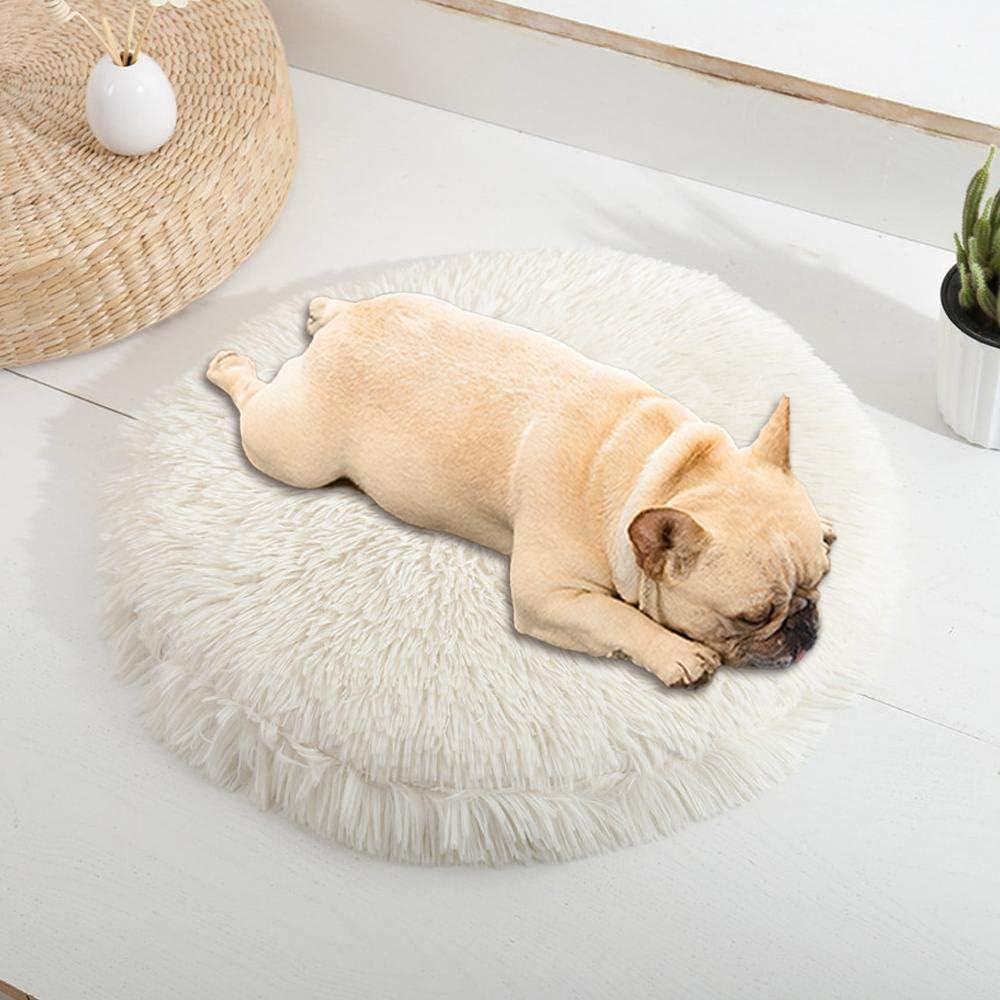 JIAOSHUAIYU Cama para Mascotas Cama para Perros y Mascotas cómoda Perrera súper Suave Lavable cojín para Gatos y Perros Cama de Invierno cálido sofá 60 cm Blanco