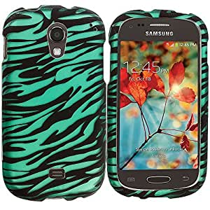 Accessory Planet(TM) Black/Baby Blue Zebra 2D Hard Snap-On Design Rubberized Case Cover Accessory for Samsung Galaxy Light T399