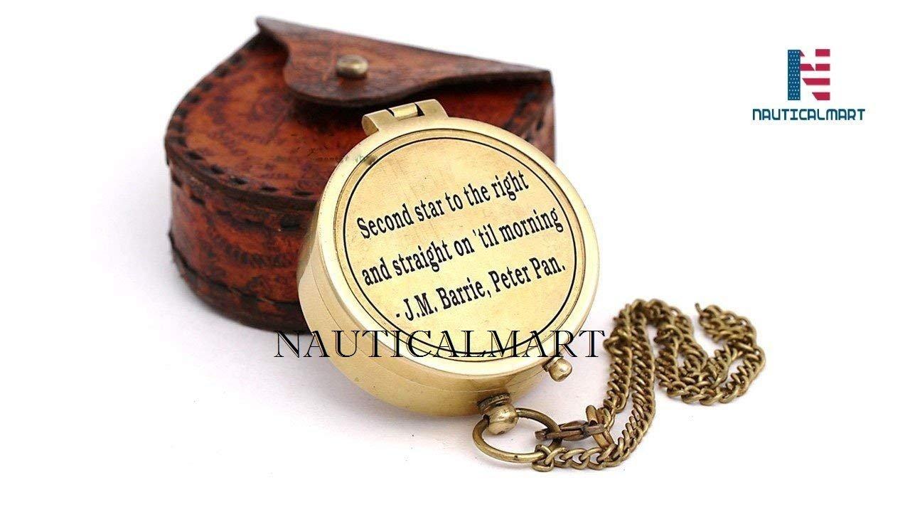 NAUTICALMART Messing 5,1 cm Kompass mit Leder Fall