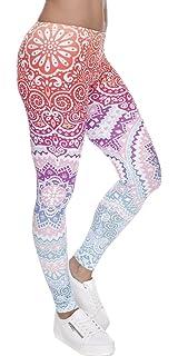 0061926362f340 Ndoobiy Women's Printed Leggings Full-Length Regular Size Yoga Workout  Leggings Pants Soft Capri L1
