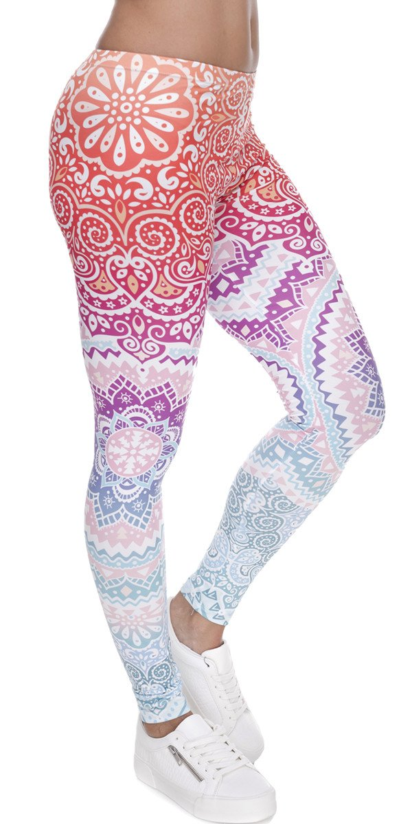 Ndoobiy Women's Printed Leggings Full-Length Regular Size Yoga Workout Leggings Pants Soft Capri L1(Color Shape OS)