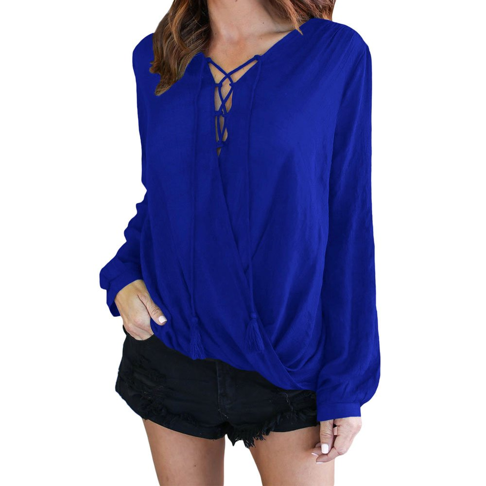 Lrud Women's Casual Long Sleeve Blouse V-Neck Loose Pleated T-Shirt Tunic Tops