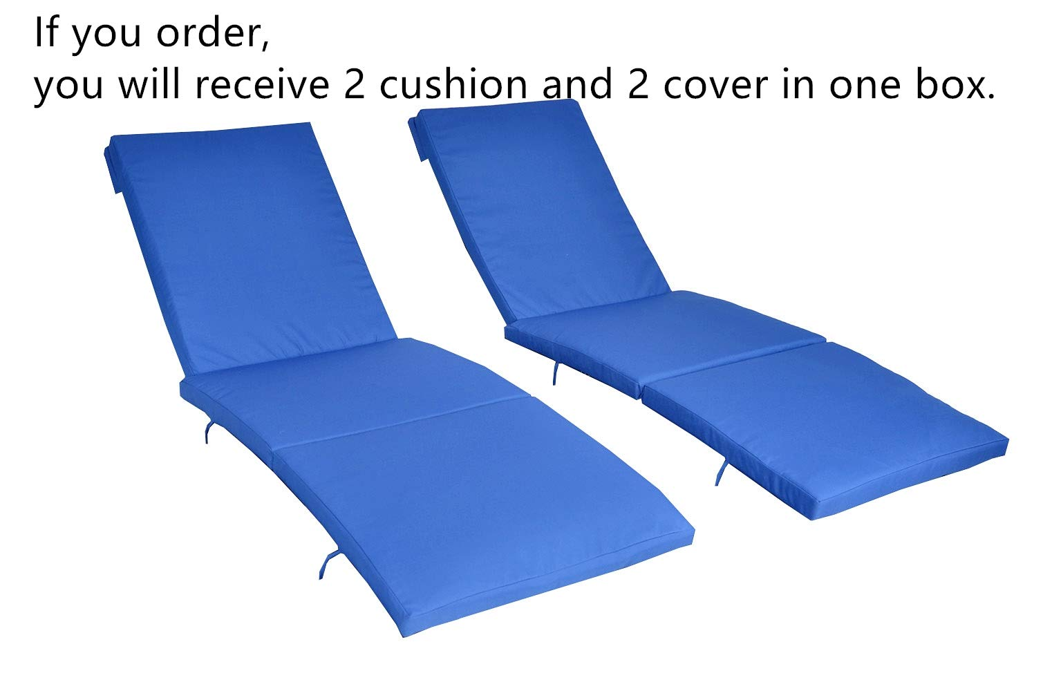 JETIME 2Pcs Royal Blue Cushion and Cover of Only Armless and Armed Lounge Chair