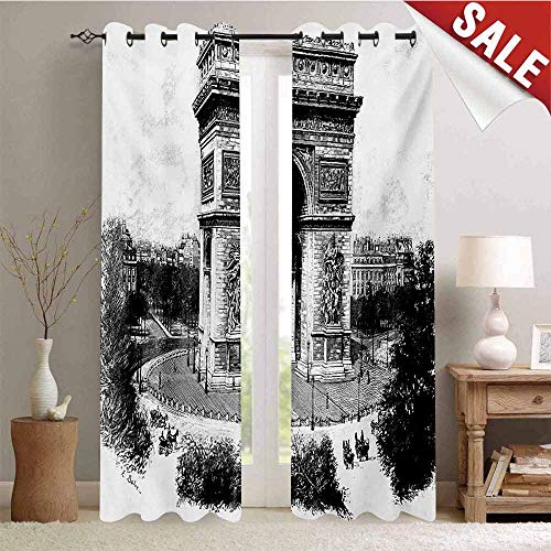 Vintage Decorative Curtains for Living Room Old Photo of Auguste Vitu Monument in Paris French Heritage Retro Picture Waterproof Window Curtain W72 x L108 Inch Black and White