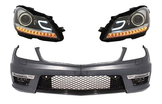 KITT COFBMBW204AMGF defensa delantera 2012 + Facelift AMG diseño con DECTANE faros delanteros DRL ensamblaje negro: Amazon.es: Coche y moto