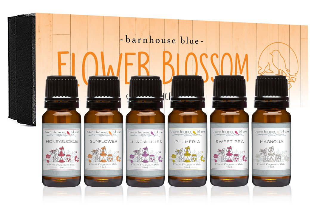 Flower Blossom Premium Grade Fragrance Oil - Gift Set 6/10ml Bottles - Honeysuckle, Lilac & Lilies, Sweet Pea, Plumeria, Magnolia, Sunflower Eternal Essence Oils