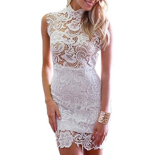 ABILIO - vestito pizzo donna abito vestitino party minivestito nero donna elegante_bianco_Taglia uni...
