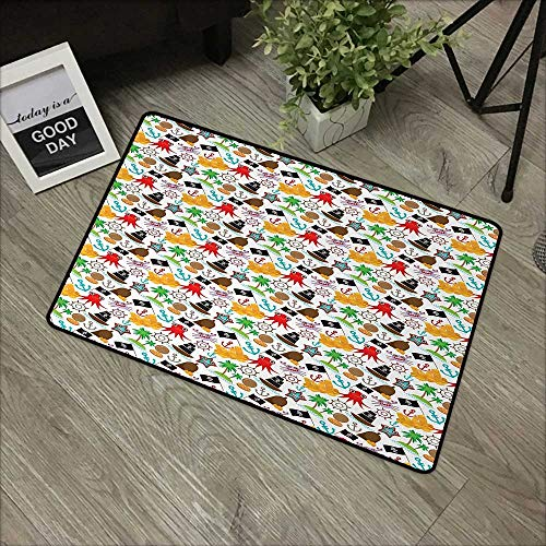 - Hall mat W24 x L35 INCH Pirates,Cartoon Style Pattern with Funny Maritime Animal Characters and Buccaneer Theme,Multicolor Easy to Clean, Easy to fold,Non-Slip Door Mat Carpet