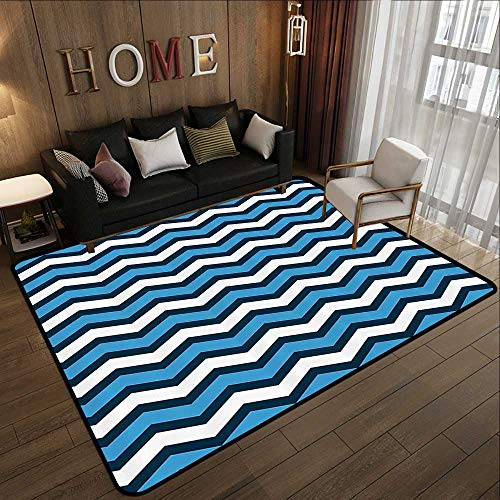 Durable Rubber Floor Mat,Geometric Decor Collection,Chevron Pattern in Nautical Colors Geo Marine Ocean Zig Zag Parallel Stripes Art,Navy Blue Wh 71