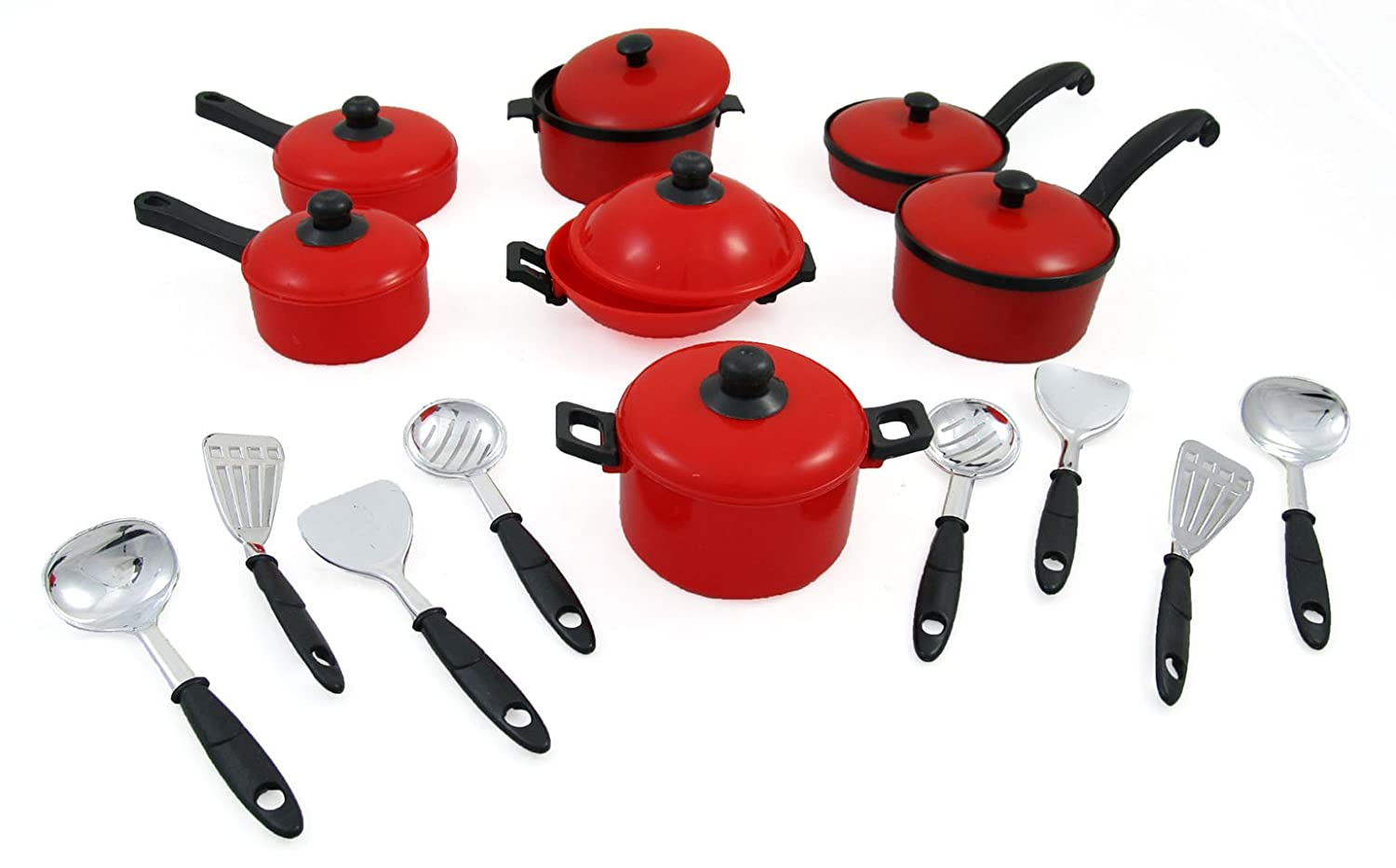 15 Piece Miniature Pots and Pans Kitchen Cookware Playset for Kids with Cooking Utensils Set by Liberty Imports