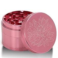 DCOU New Design Premium Aluminium Herb Grinder 2.2 inches 4 Piece Metal Grinder with Pollen Catcher with Laser Flower Pattern