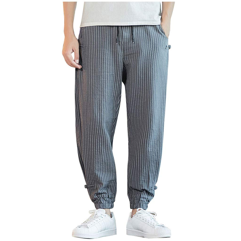 FEDULK Men's Harem Pant Striped Print Comfortable Fit Beam Legging Plus Size Trouser(Gray, Medium) by FEDULK