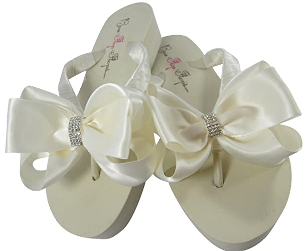 b62f2be18d2c Amazon.com  Bridal Flip Flops with Bows and Bling  Handmade