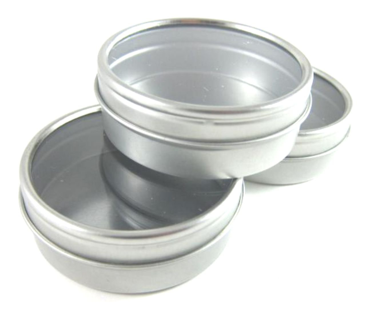 MagnaKoys® 2oz Shallow Round Steel Tin Can w/slip on Window cover Tops (10)