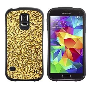 """Pulsar iFace Series Tpu silicona Carcasa Funda Case para Samsung Galaxy S5 , Oro Rosas del papel pintado de superficies"""""""