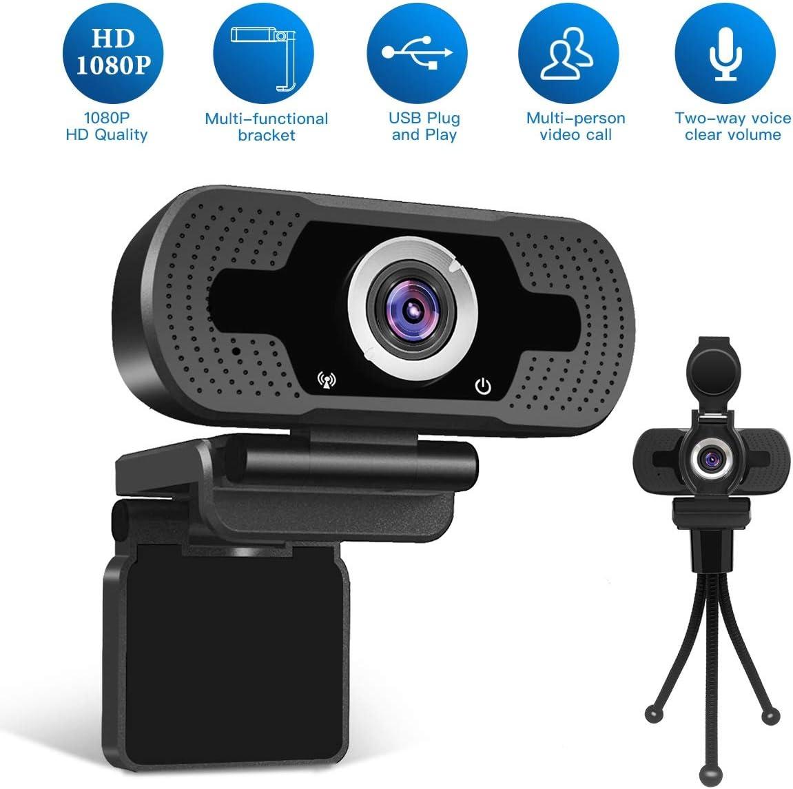 mini tr/épied de cam/éra Dericam support de webcam mini tr/épied r/églable l/éger pour bureau de salle de conf/érence support de cam/éra noir