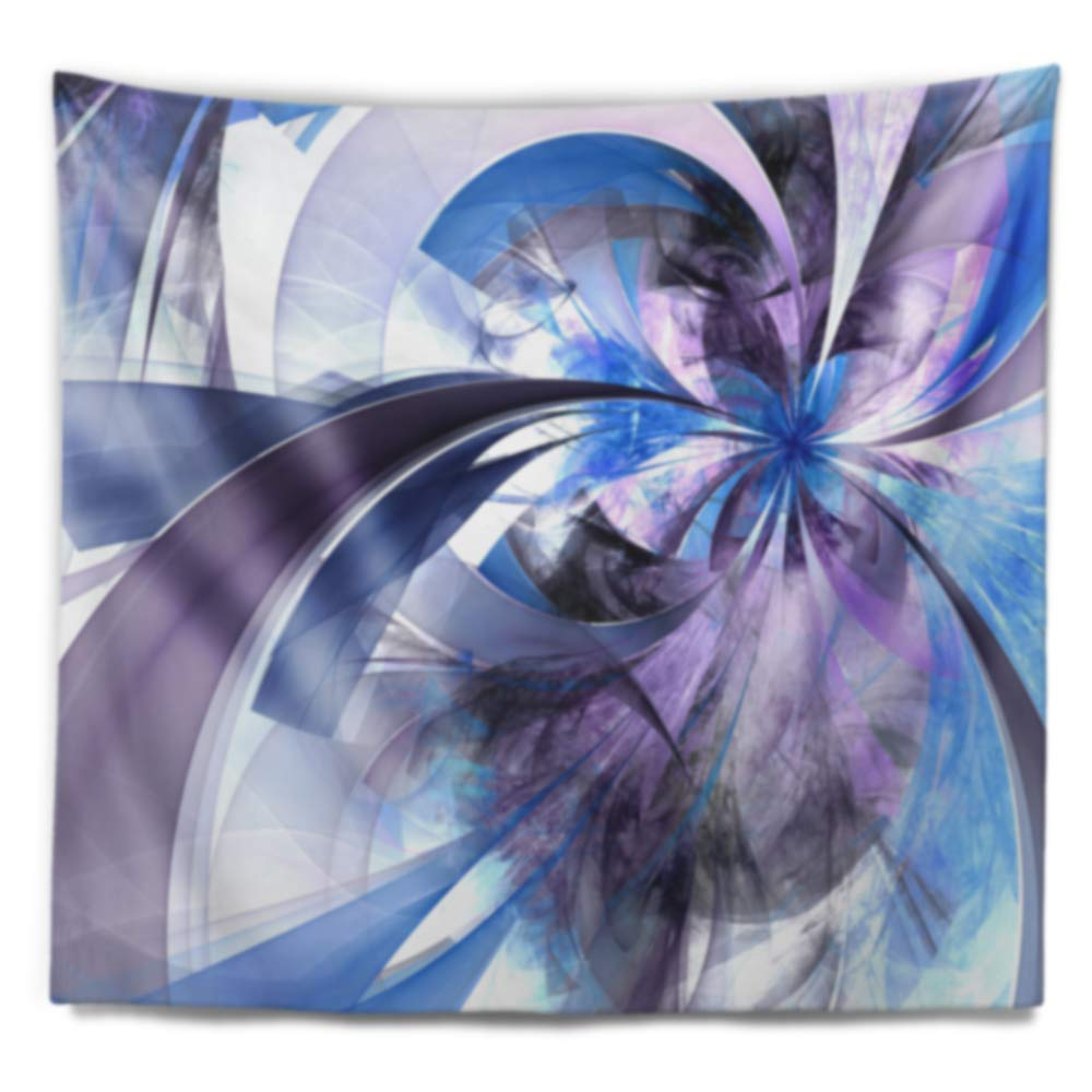 In X 32 In 39 In Designart Tap12016 39 32 Purple And Blue Symmetrical Fractal Flower Floral Blanket Décor Art For Home And Office Wall Tapestry Medium