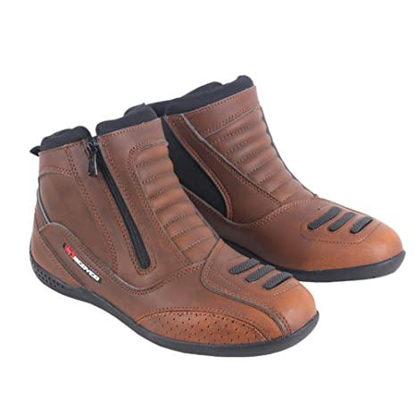 Street Touring Botas de Moto Cuero Transpirable Diseño Vintage Botines Biker Zapatos Negro/Marrón