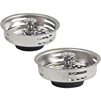 HIGHCRAFT FAUC9843-2 Stainless Steel Kitchen Sink Strainer Basket Replacement for Standard Drains (3-1/2 Inch) -Universal Style Rubber Stopper