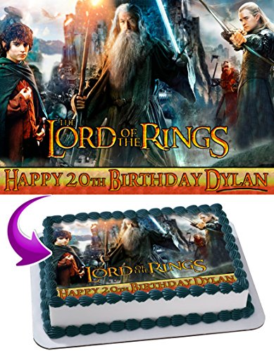 Lord of the Rings Edible Image Cake Topper Personalized Icing Sugar Paper A4 Sheet Edible Frosting Photo Cake 1/4 ~ Best Quality Edible Image for cake