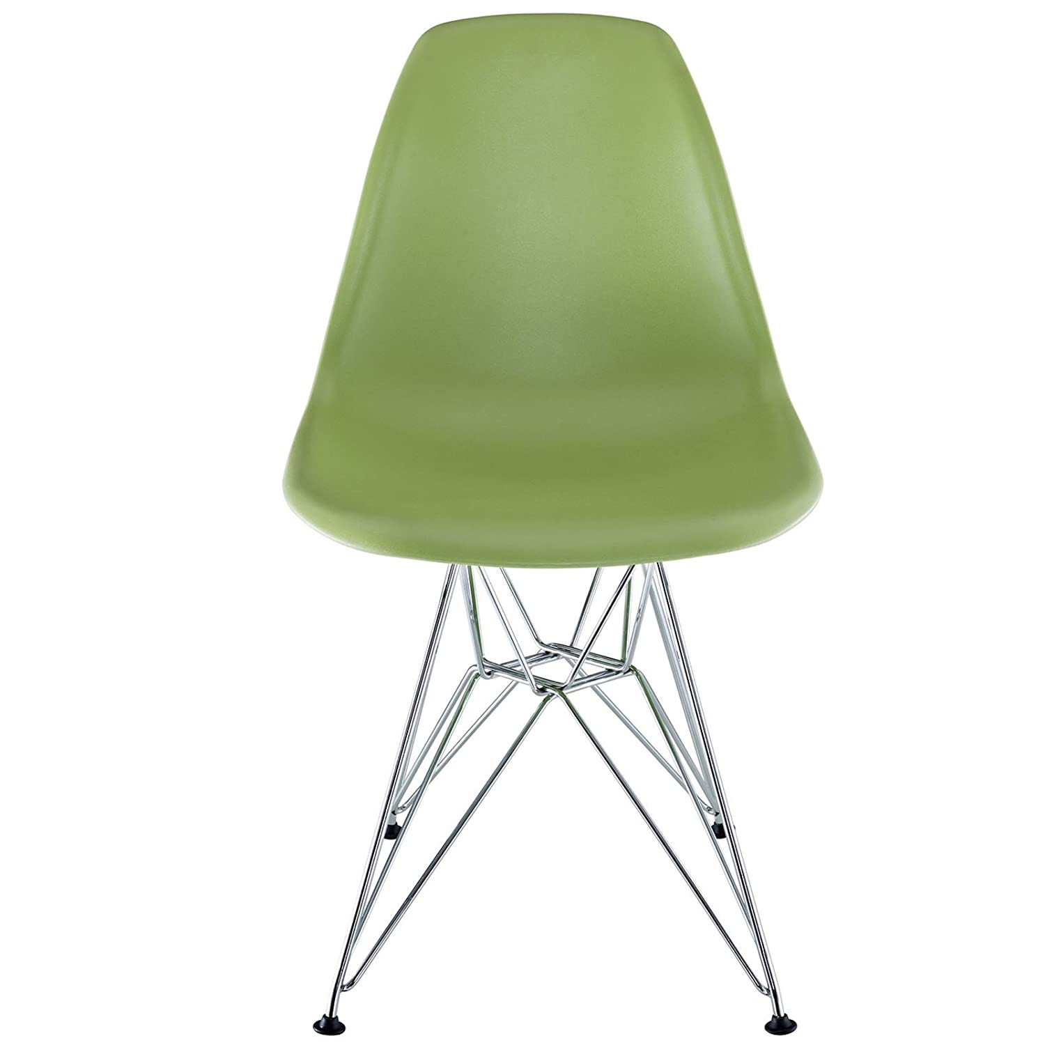 Amazon Modway Plastic Side Chair in Green with Wire Base