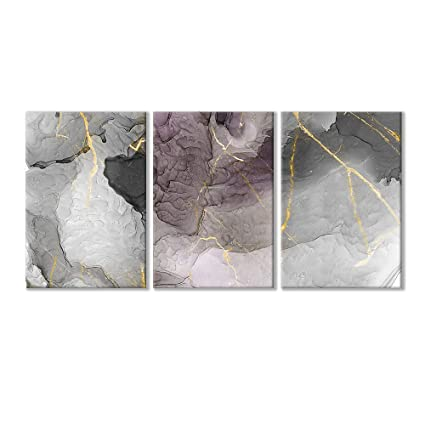 Wall26-3 Piece Canvas Wall Art-Abstract Artwork Grey Ink Painting-Giclee  Painting Wall Bedroom Living House Decoration Home Decor - 16
