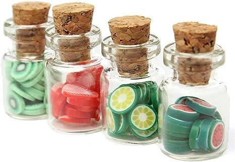 Tapa Casa de Muñecas Cocina Accesorio Tienda Fo Rebanadas de fruta de almacenamiento de información de Vidrio Mini 4 un