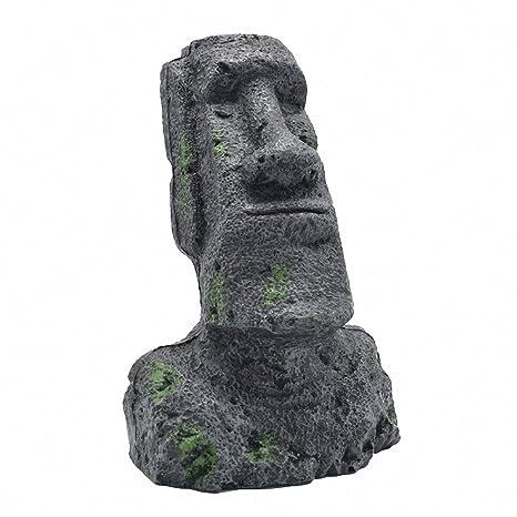Adorno para acuario con diseño de cabeza de piedra de Pascua de la isla de Pascua