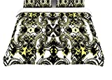 Kess InHouse Dawid Roc The Palace Walls II Yellow Black Twin Cotton Duvet Cover, 68 by 88-Inch