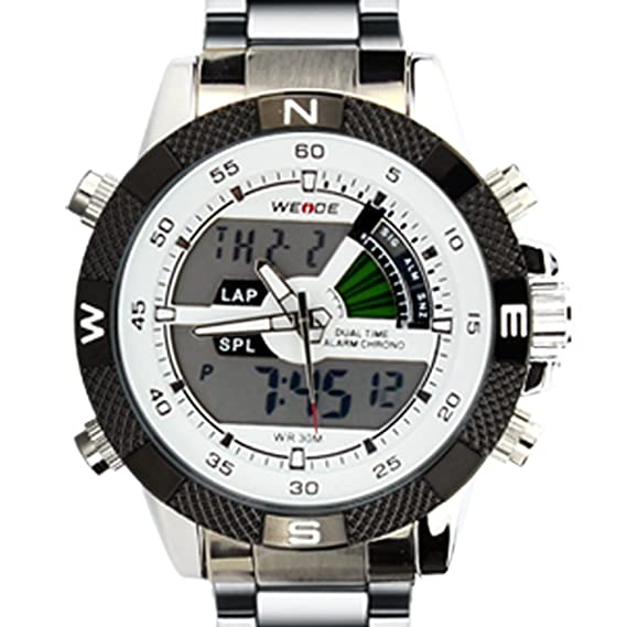WEIDE WH-1104-S-White - Reloj para hombres, correa de acero inoxidable color plateado: Amazon.es: Relojes