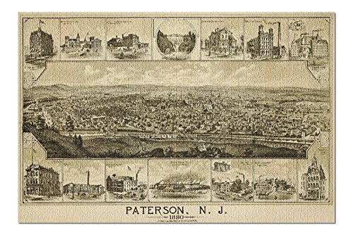 Paterson, New Jersey - (1880) - Panoramic Map (20x30 Premium 1000 Piece Jigsaw Puzzle, Made in USA!)