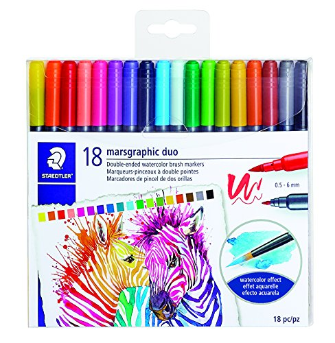 STAEDTLER double ended watercolor brush markers, marsgraphic duo, for illustrations, detail work, manga and expressive lettering, 18 colors 3000TB18LU by Staedtler