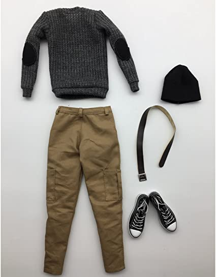 1//6 Action Figure Clothes Pull gris tricoté Jeans Ensemble de chaussures