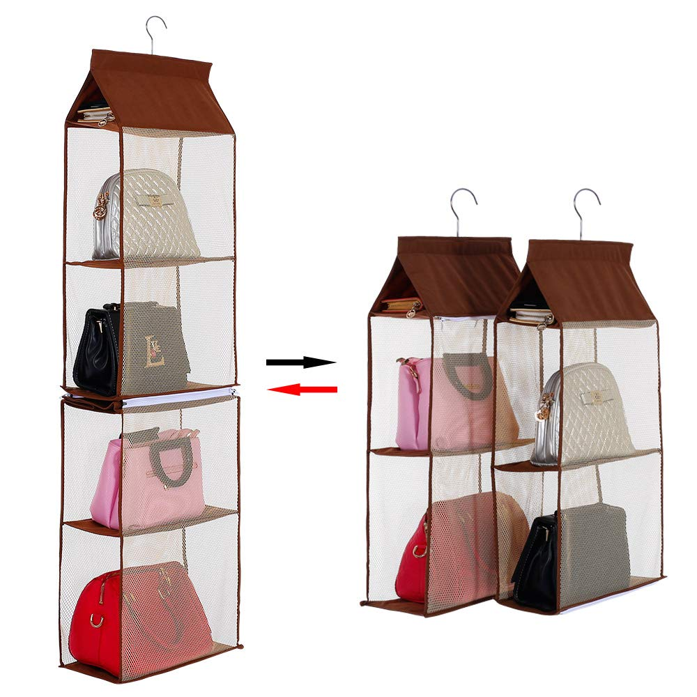 KEEPJOY Detachable Hanging Handbag Organizer Purse Bag Collection Storage Holder Wardrobe Closet Space Saving Organizers System (Beige)