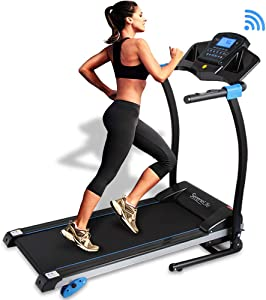 SereneLife Smart Digital Folding Treadmill - Electric Foldable Exercise Fitness Machine